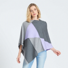 Intarsia Supersoft Merino Poncho in Grey & Orchid
